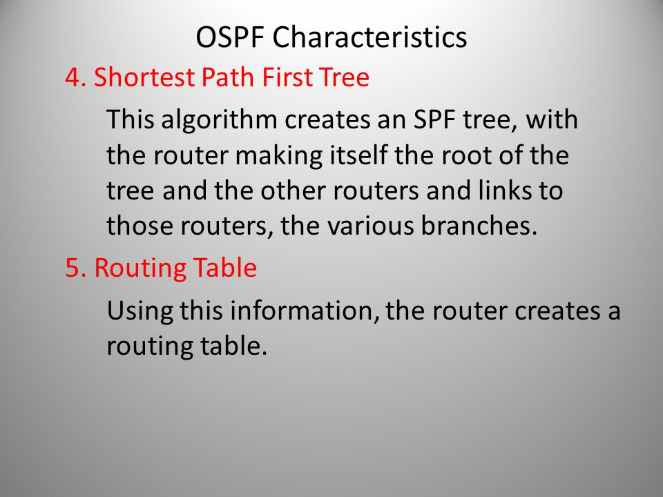 4. Shortest Path First Tree This algorithm creates an SPF tree, with the router making itself the root of the tree and the other routers and links to