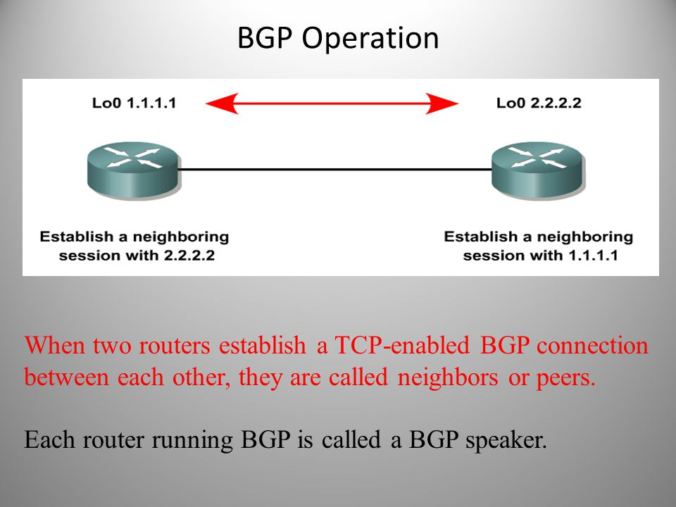 BGP Operation When two routers establish a TCP-enabled BGP connection between each other, they are called neighbors or peers. Each router running BGP