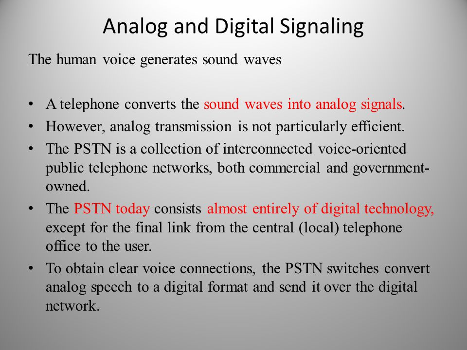Analog and Digital Signaling The human voice generates sound waves A telephone converts the sound waves into analog signals.