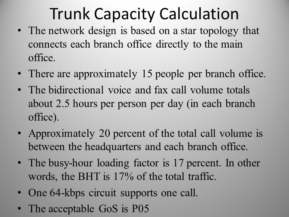 Trunk Capacity Calculation The network design is based on a star topology that connects each branch office directly to the main office. There are appr
