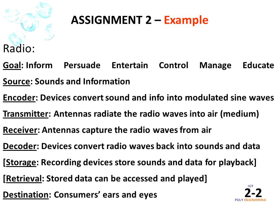 IOT POLY ENGINEERING 2-2 Radio: Goal: Inform Persuade Entertain Control Manage Educate Source: Sounds and Information Encoder: Devices convert sound a