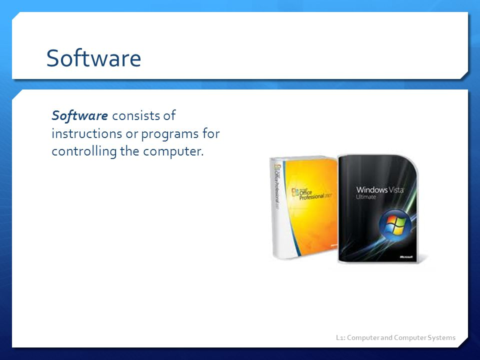 Software Software consists of instructions or programs for controlling the computer. L1: Computer and Computer Systems