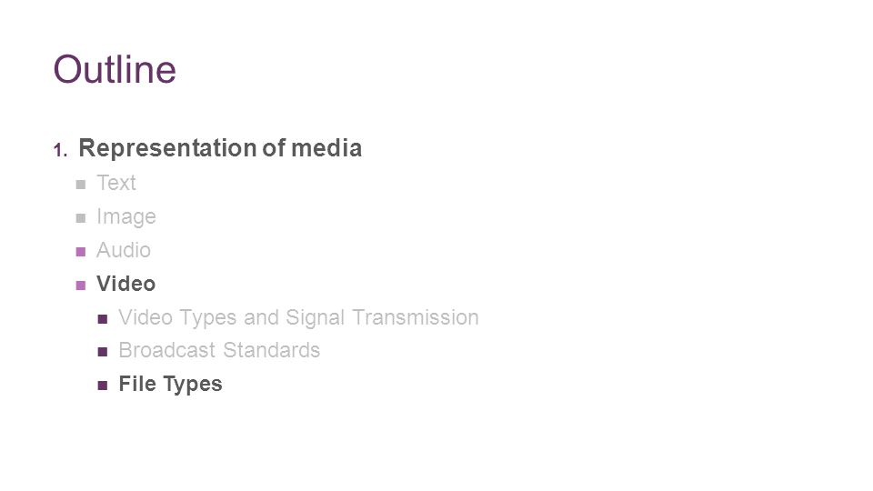 + Outline 1. Representation of media Text Image Audio Video Video Types and Signal Transmission Broadcast Standards File Types