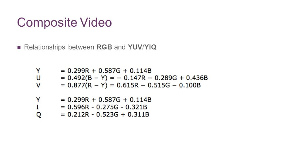 + Composite Video Relationships between RGB and YUV/YIQ