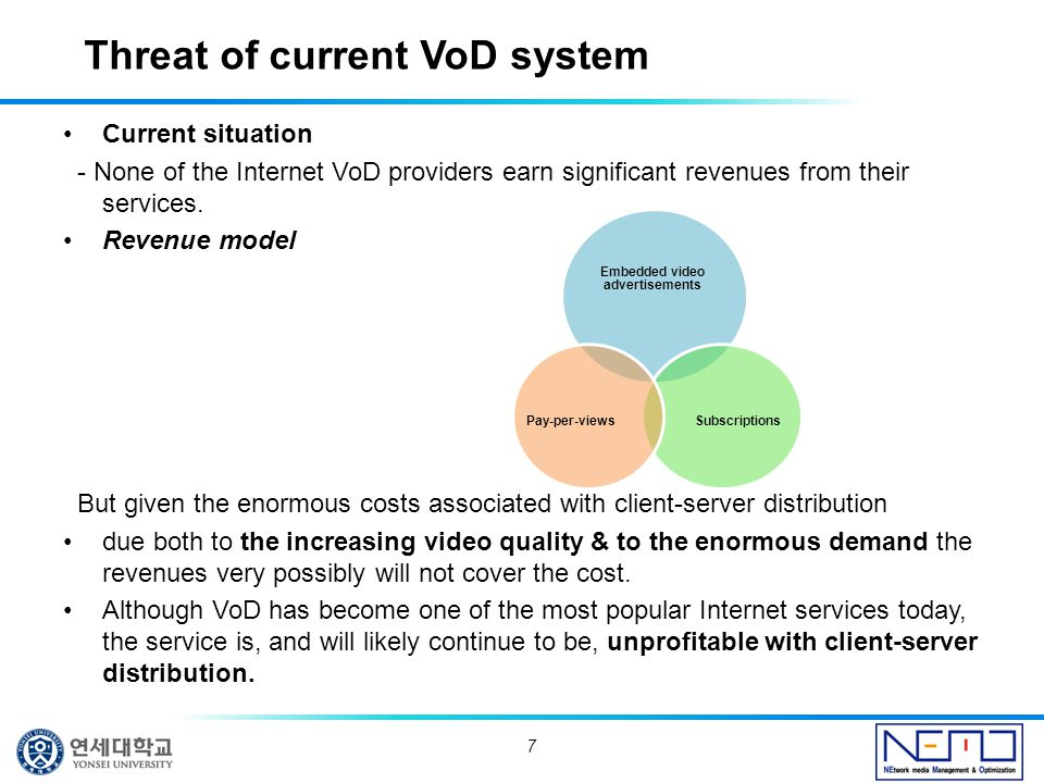 Current situation - None of the Internet VoD providers earn significant revenues from their services.