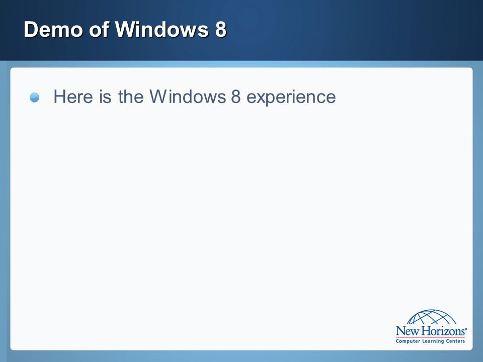 Terms to Know: Windows 8 – the new operating system that runs in a dual mode : Desktop (Win32) and WinRT Win32 – the OS API that supports today's applications in Win8 WinRT – the new OS API that supports future applications Metro – a user experience design language often used when building WinRT applications