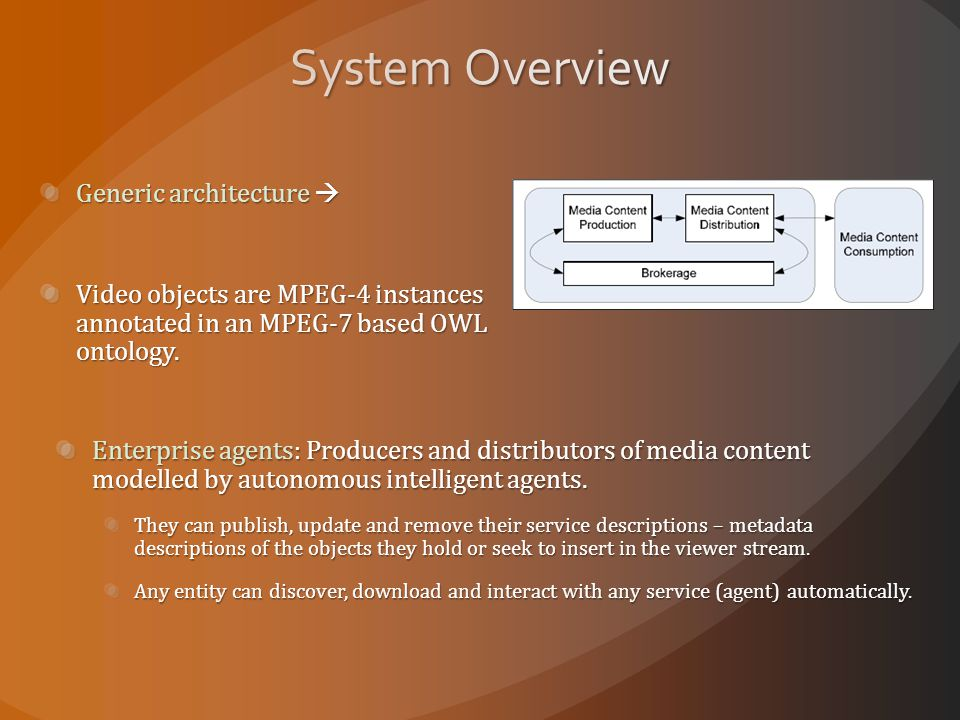 Generic architecture  Video objects are MPEG-4 instances annotated in an MPEG-7 based OWL ontology.