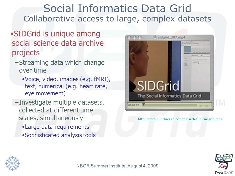Social Informatics Data Grid Collaborative access to large, complex datasets SIDGrid is unique among social science data archive projects –Streaming d