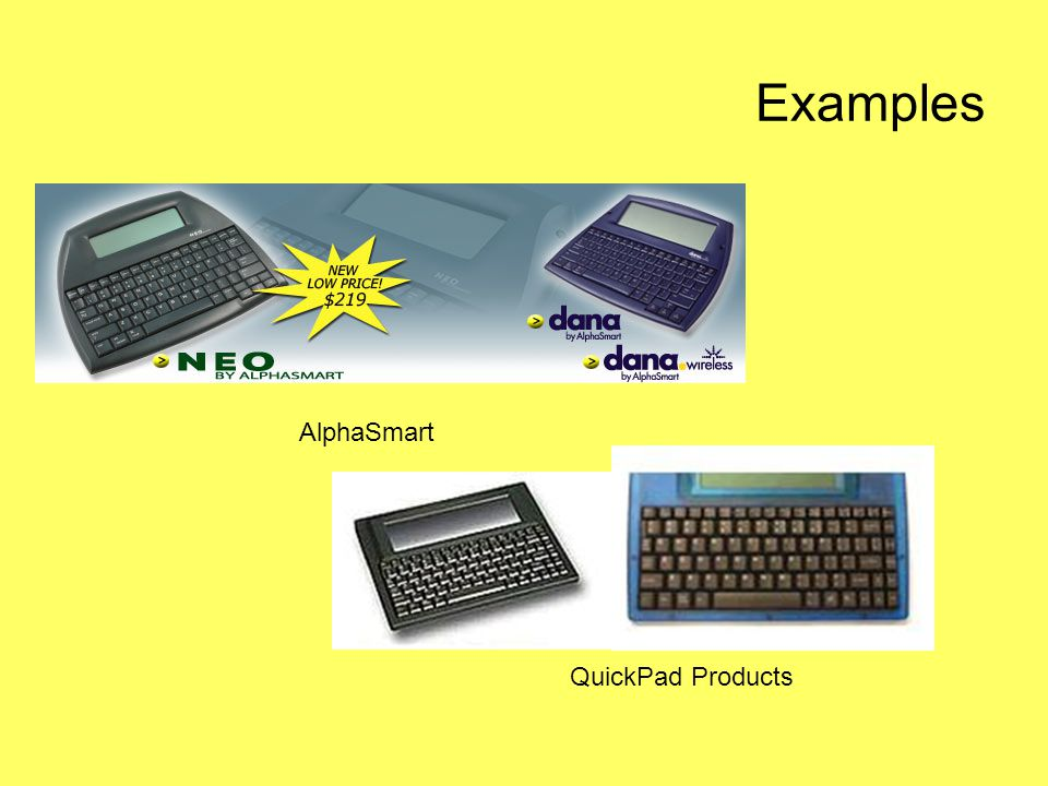 Examples AlphaSmart QuickPad Products