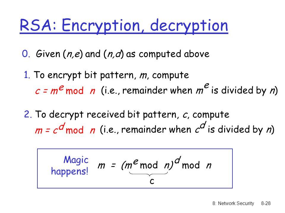 8: Network Security8-28 RSA: Encryption, decryption 0.