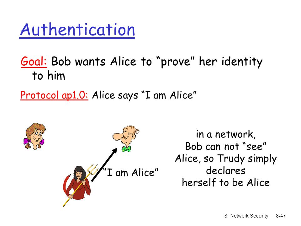 """8: Network Security8-47 Authentication Goal: Bob wants Alice to """"prove"""" her identity to him Protocol ap1.0: Alice says """"I am Alice"""" in a network, Bob"""