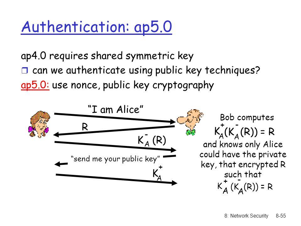 8: Network Security8-55 Authentication: ap5.0 ap4.0 requires shared symmetric key r can we authenticate using public key techniques? ap5.0: use nonce,