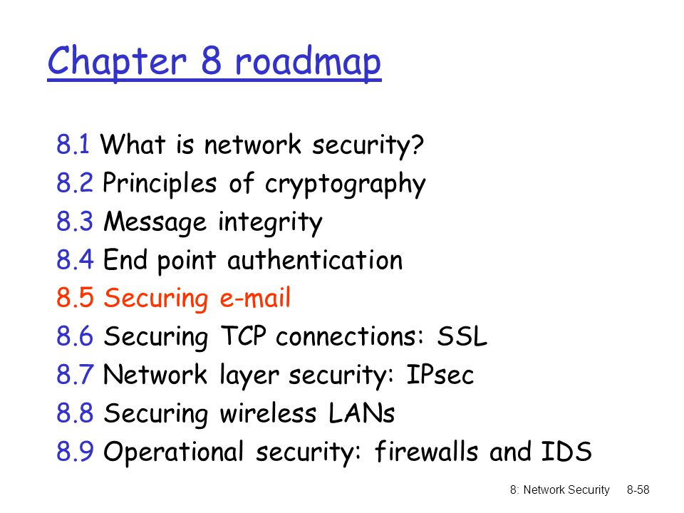 8: Network Security8-58 Chapter 8 roadmap 8.1 What is network security? 8.2 Principles of cryptography 8.3 Message integrity 8.4 End point authenticat