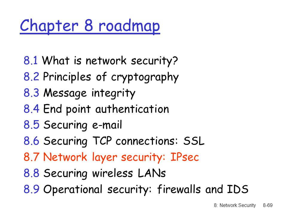 8: Network Security8-69 Chapter 8 roadmap 8.1 What is network security.