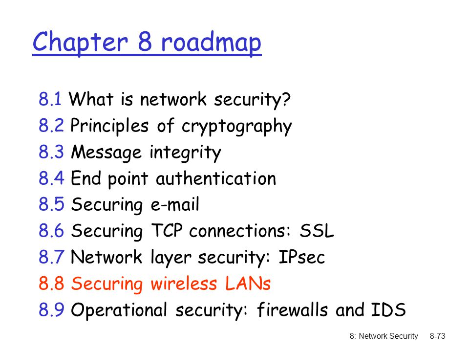 8: Network Security8-73 Chapter 8 roadmap 8.1 What is network security? 8.2 Principles of cryptography 8.3 Message integrity 8.4 End point authenticat