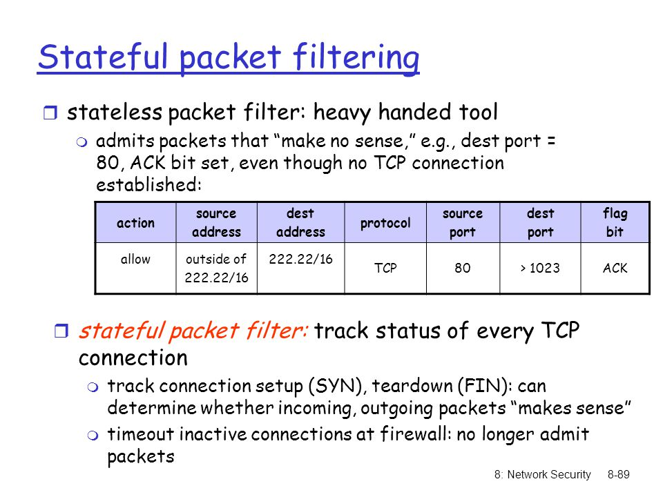 """8: Network Security8-89 Stateful packet filtering r stateless packet filter: heavy handed tool m admits packets that """"make no sense,"""" e.g., dest port"""