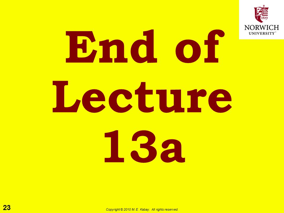 23 Copyright © 2010 M. E. Kabay. All rights reserved. End of Lecture 13a