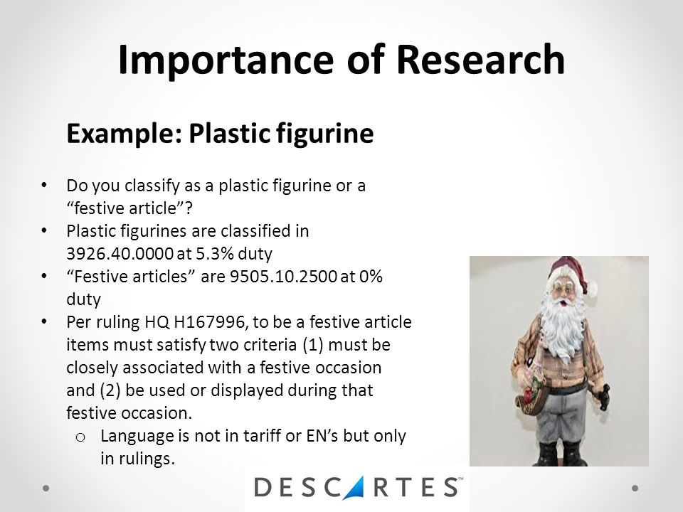"Importance of Research Example: Plastic figurine Do you classify as a plastic figurine or a ""festive article""? Plastic figurines are classified in 392"