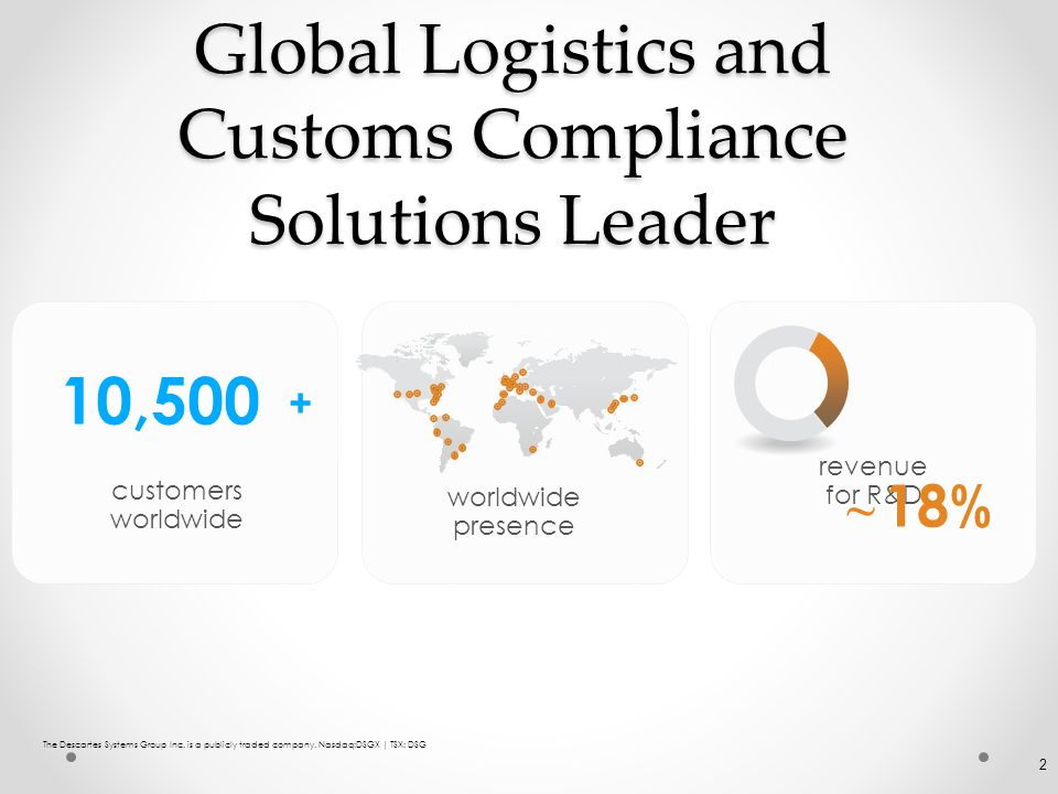 Global Logistics and Customs Compliance Solutions Leader revenue for R&D 18 % ~ The Descartes Systems Group Inc. is a publicly traded company. Nasdaq:
