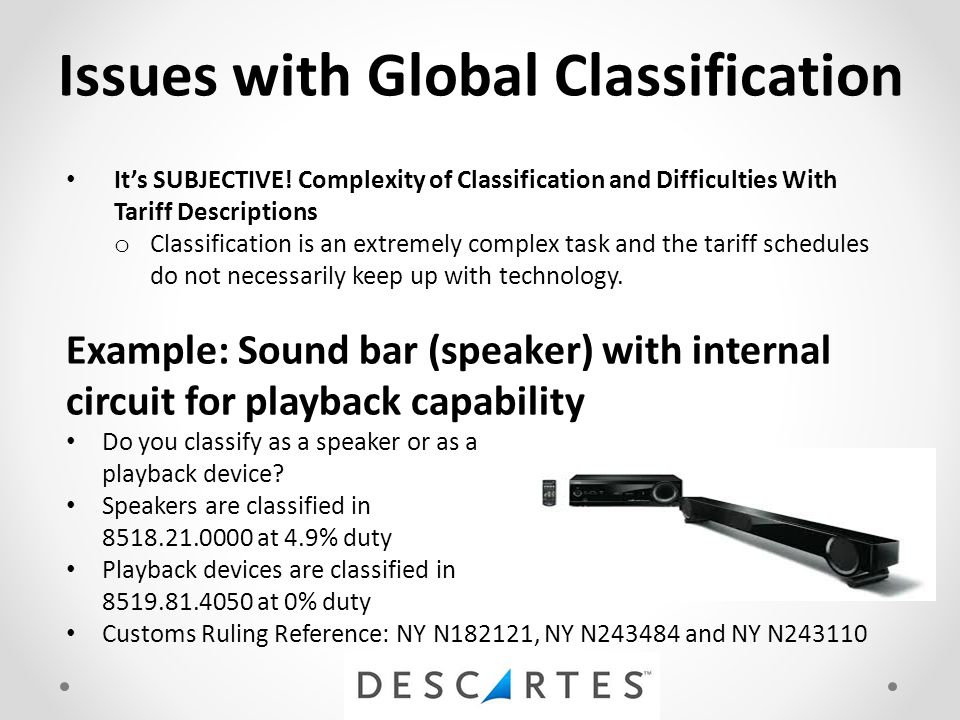 Issues with Global Classification It's SUBJECTIVE.