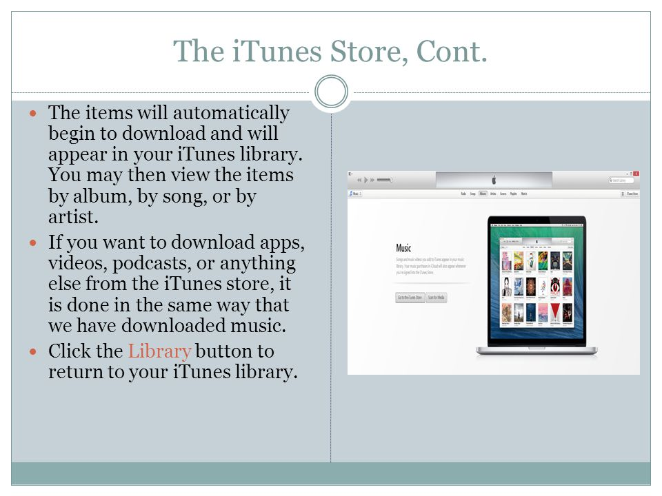 The iTunes Store, Cont.