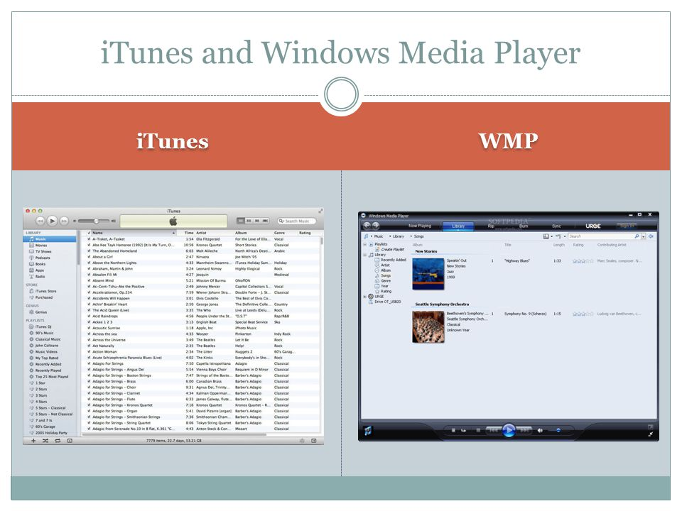 iTunes WMP iTunes and Windows Media Player