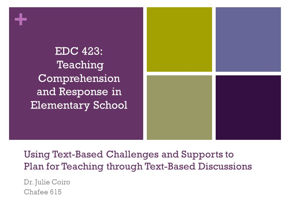 + Using Text-Based Challenges and Supports to Plan for Teaching through Text-Based Discussions Dr.