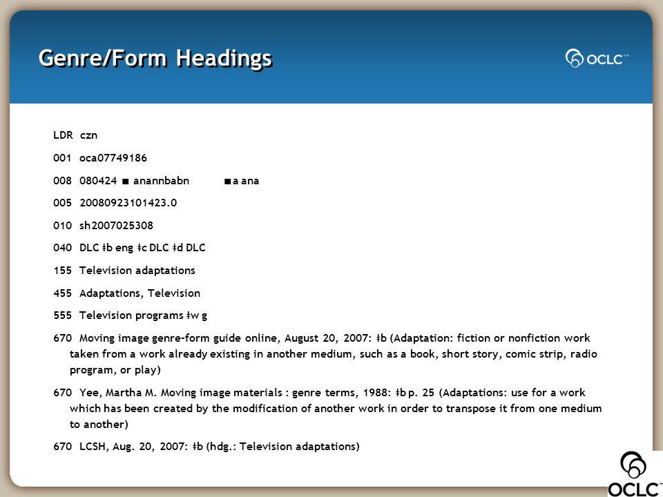Genre/Form Headings LDR czn 001 oca07749186 008 080424 ∎ anannbabn ∎ a ana 005 20080923101423.0 010 sh2007025308 040 DLC ǂ b eng ǂ c DLC ǂ d DLC 155 T