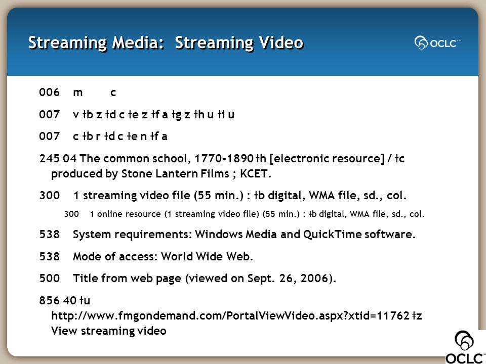 Streaming Media: Streaming Video 006 m c 007 v ǂ b z ǂ d c ǂ e z ǂ f a ǂ g z ǂ h u ǂ i u 007 c ǂ b r ǂ d c ǂ e n ǂ f a 245 04 The common school, 1770-