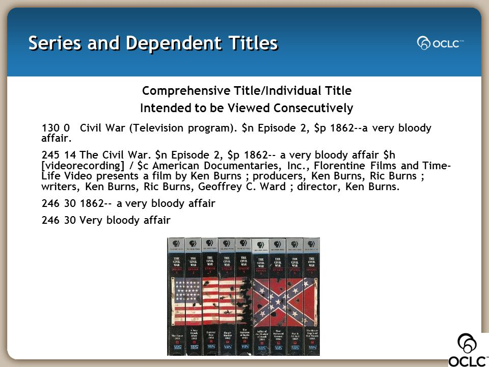 Series and Dependent Titles Comprehensive Title/Individual Title Intended to be Viewed Consecutively 130 0 Civil War (Television program). $n Episode