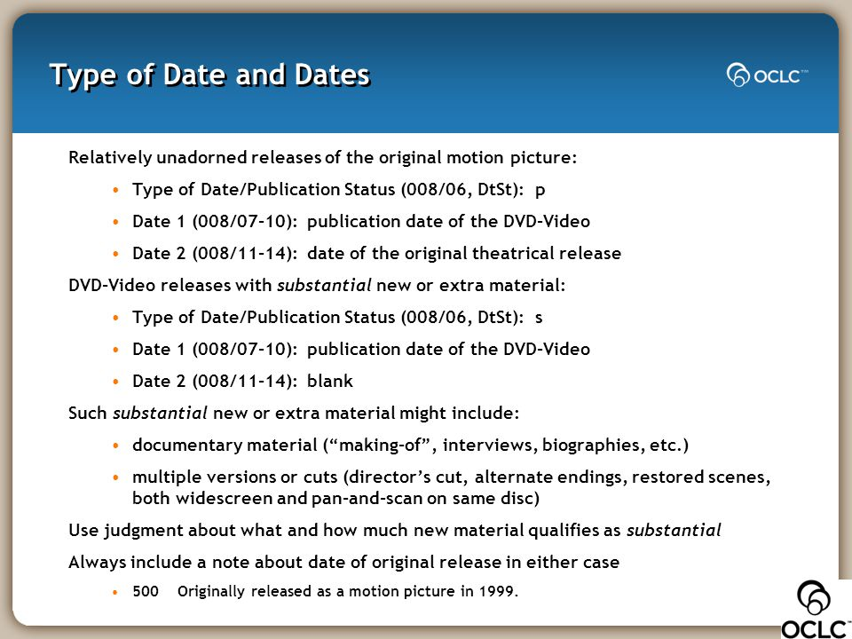 Type of Date and Dates Relatively unadorned releases of the original motion picture: Type of Date/Publication Status (008/06, DtSt): p Date 1 (008/07-