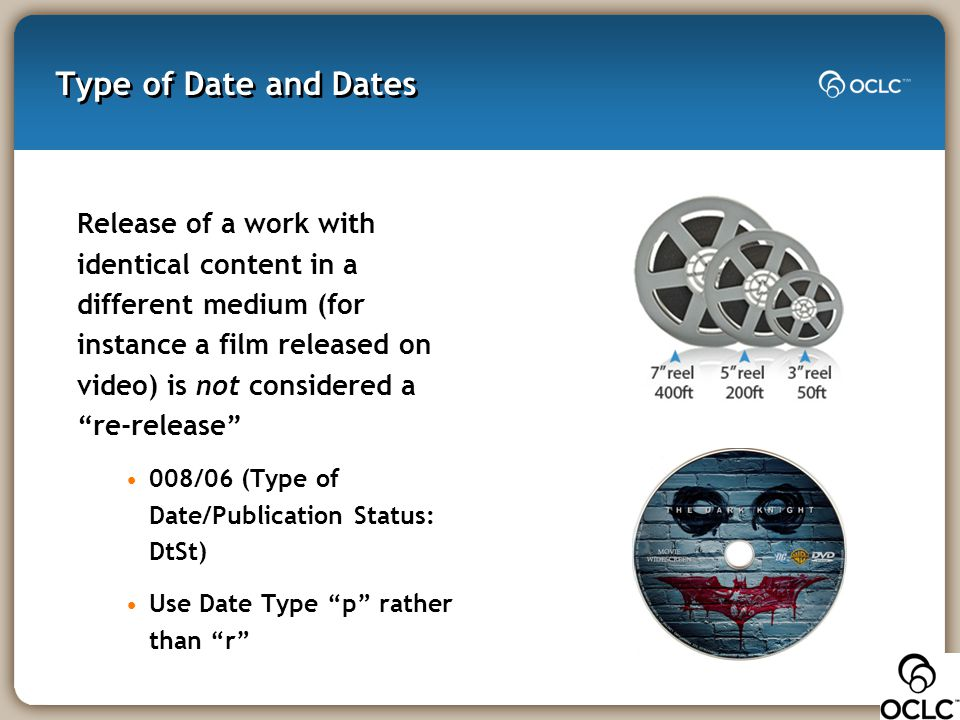 """Type of Date and Dates Release of a work with identical content in a different medium (for instance a film released on video) is not considered a """"re-"""