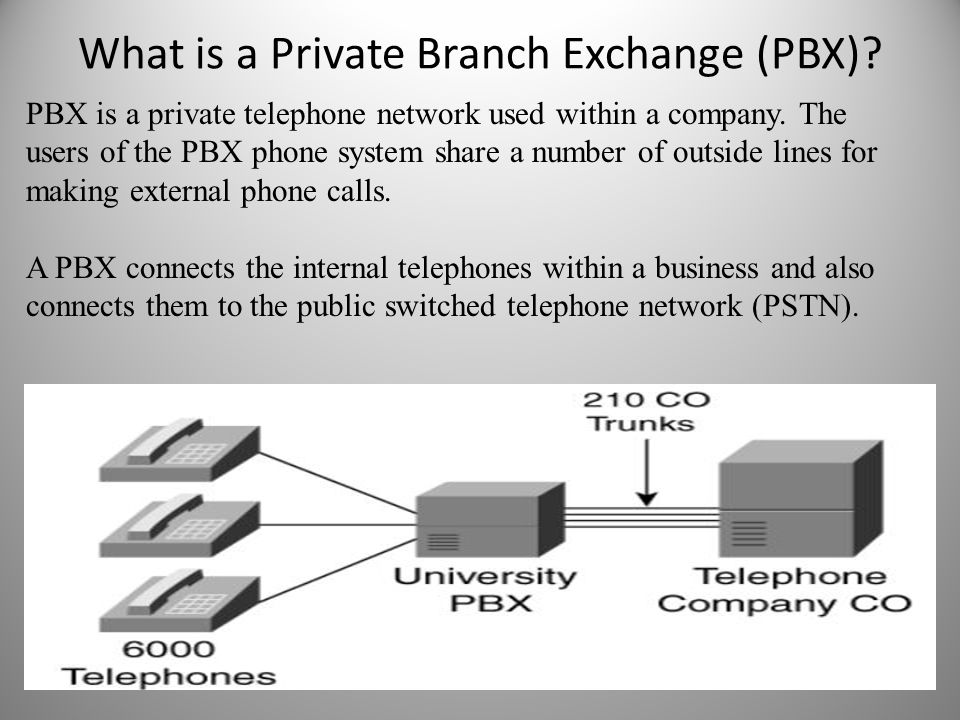 What is a Private Branch Exchange (PBX)? PBX is a private telephone network used within a company. The users of the PBX phone system share a number of