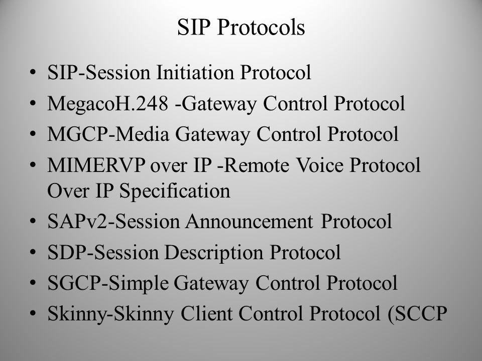 SIP Protocols SIP-Session Initiation Protocol MegacoH.248 -Gateway Control Protocol MGCP-Media Gateway Control Protocol MIMERVP over IP -Remote Voice