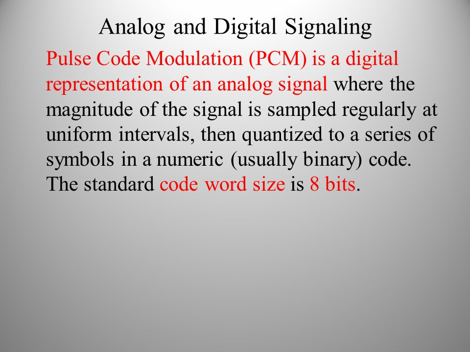 Analog and Digital Signaling Pulse Code Modulation (PCM) is a digital representation of an analog signal where the magnitude of the signal is sampled