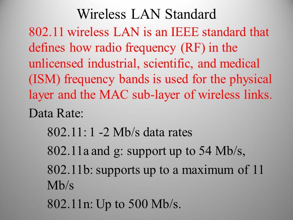 Wireless LAN Standard 802.11 wireless LAN is an IEEE standard that defines how radio frequency (RF) in the unlicensed industrial, scientific, and medi