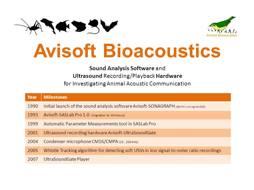 Avisoft Bioacoustics YearMilestones 1990Initial launch of the sound analysis software Avisoft-SONAGRAPH (IBM PC running MS-DOS) 1993Avisoft-SASLab Pro 1.0 (migration to Windows) 1999Automatic Parameter Measurements tool in SASLab Pro 2001Ultrasound recording hardware Avisoft-UltraSoundGate 2004Condenser microphone CM16/CMPA (15…200 kHz) 2005Whistle Tracking algorithm for detecting soft USVs in low signal-to-noise ratio recordings 2007UltraSoundGate Player Sound Analysis Software and Ultrasound Recording/Playback Hardware for Investigating Animal Acoustic Communication