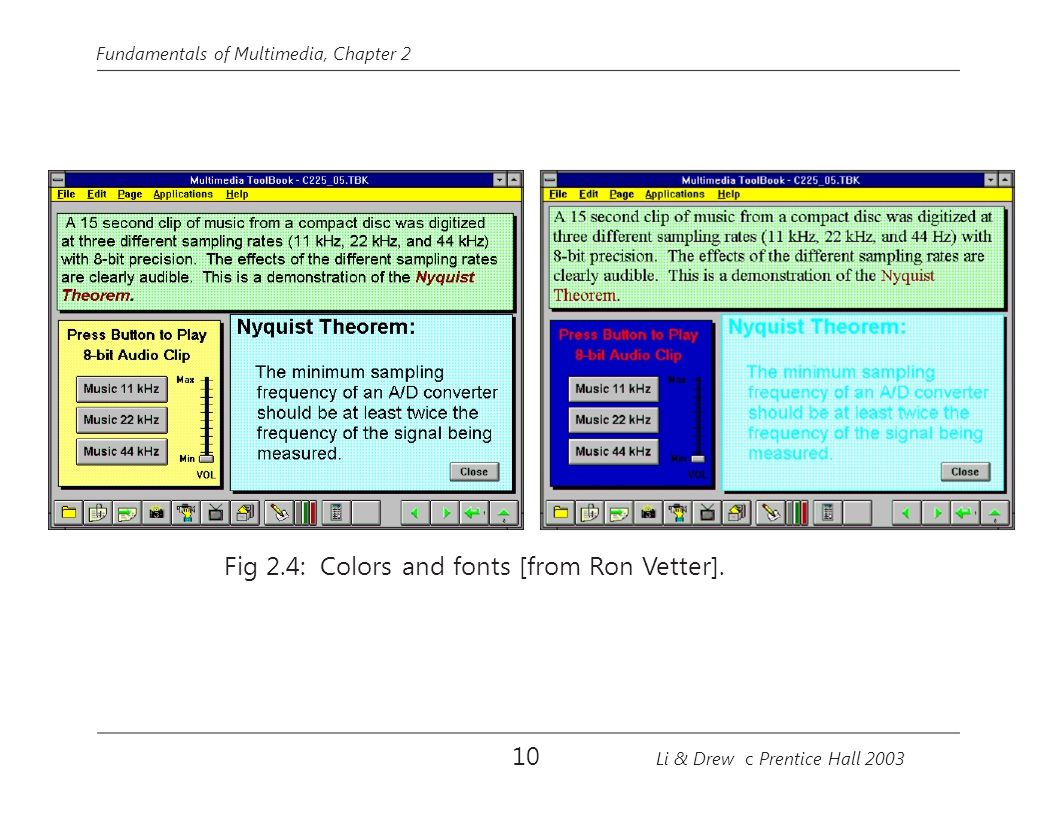Fundamentals of Multimedia, Chapter 2 Fig 2.4: Colors and fonts [from Ron Vetter]. 10 Li & Drew c Prentice Hall 2003