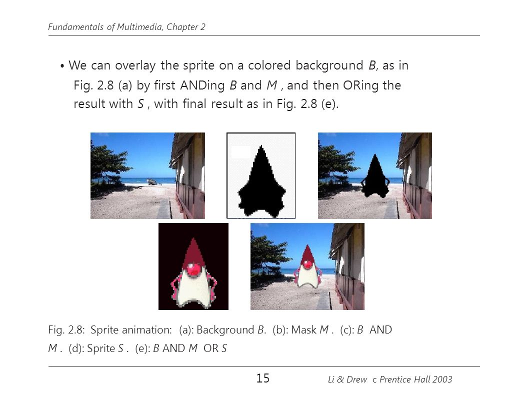 Fundamentals of Multimedia, Chapter 2 We can overlay the sprite on a colored background B, as in Fig. 2.8 (a) by first ANDing B and M, and then ORing t