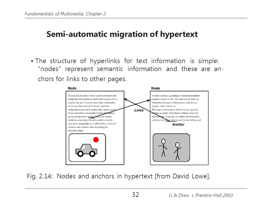 "Fundamentals of Multimedia, Chapter 2 Semi-automatic migration of hypertext The structure of hyperlinks for text information is simple: ""nodes"" repres"