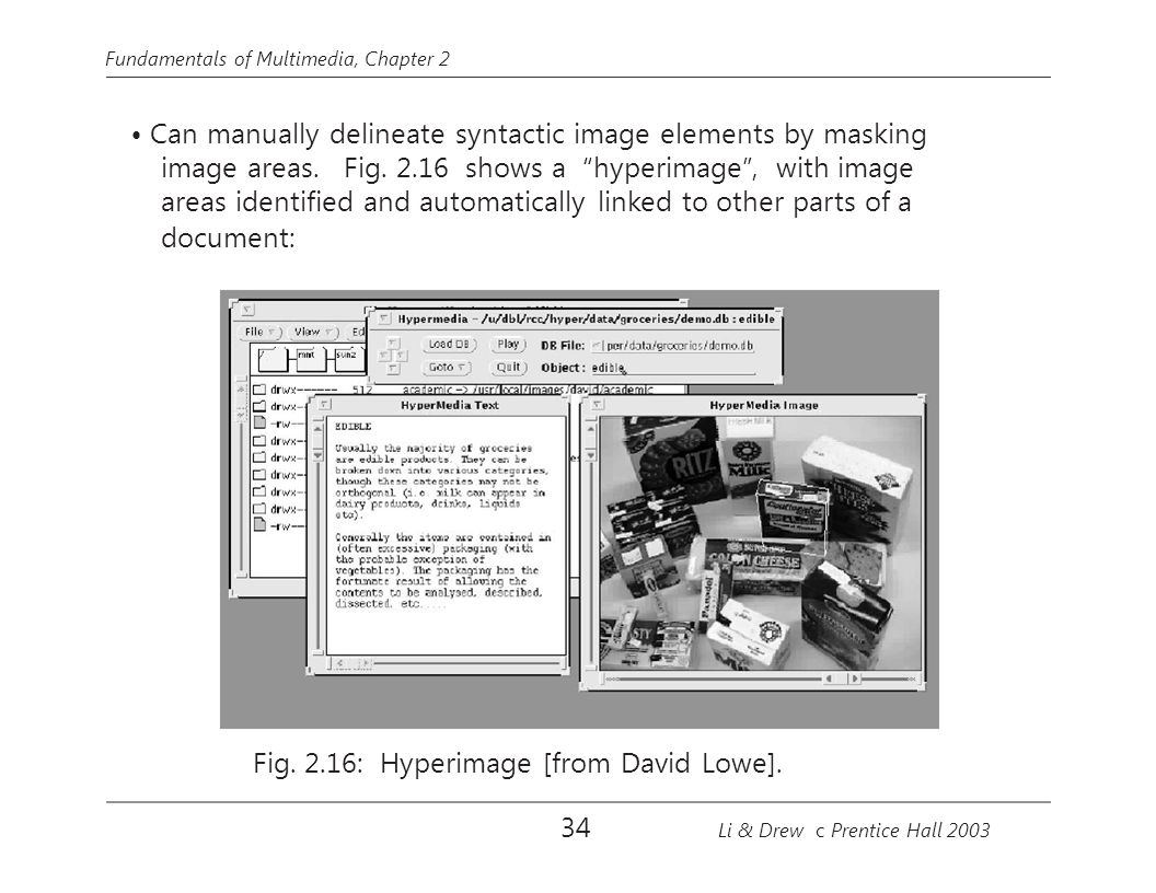 "Fundamentals of Multimedia, Chapter 2 Can manually delineate syntactic image elements by masking image areas. Fig. 2.16 shows a ""hyperimage"", with ima"