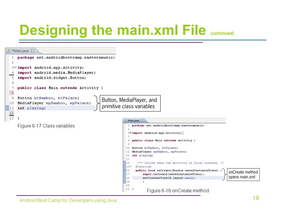Designing the main.xml File (continued) 19 Android Boot Camp for Developers using Java Figure 6-17 Class variables Figure 6-18 onCreate method