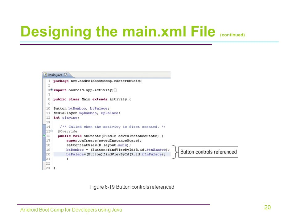 Designing the main.xml File (continued) 20 Android Boot Camp for Developers using Java Figure 6-19 Button controls referenced
