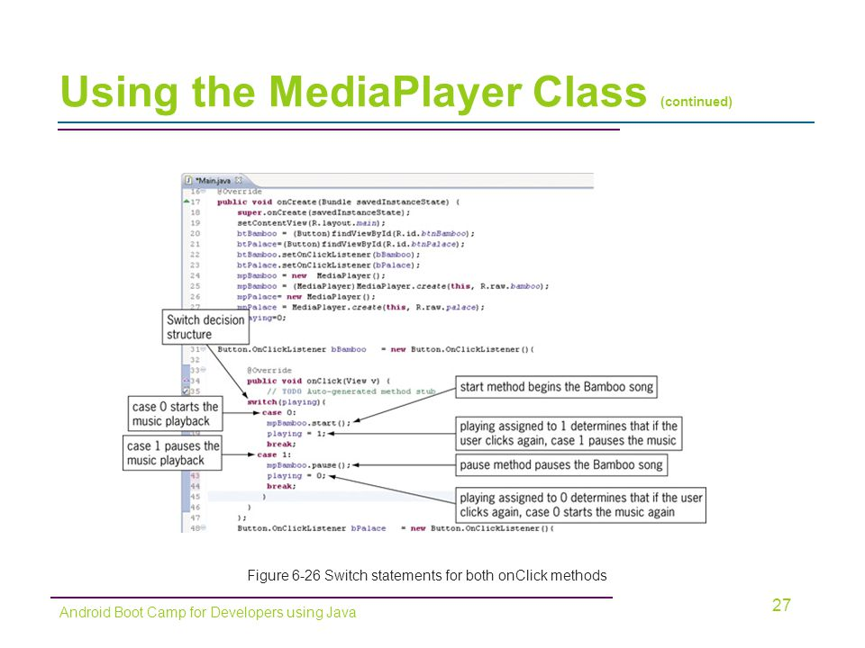 Using the MediaPlayer Class (continued) 27 Android Boot Camp for Developers using Java Figure 6-26 Switch statements for both onClick methods