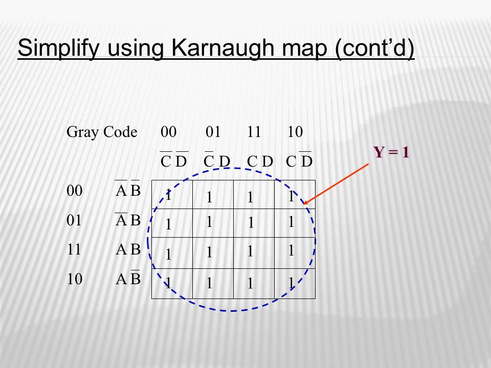 Gray Code 00A B 01A B 11A B 10A B 00 01 11 10 C D C D 1 1 1 1 11 1 1 Y = 1 1 11 1 1 1 1 1 Simplify using Karnaugh map (cont'd)
