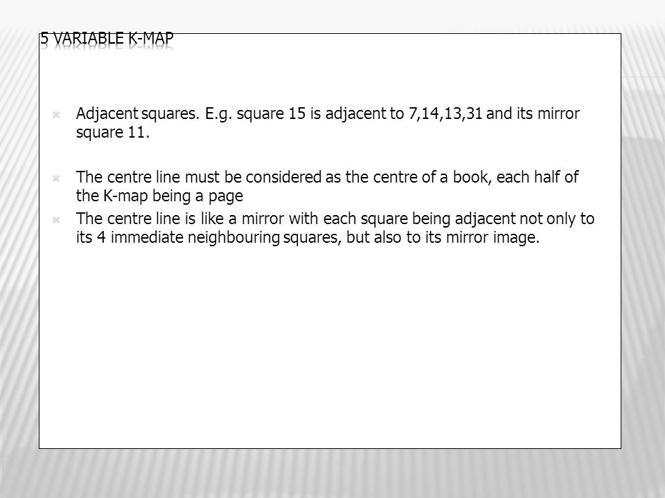  Adjacent squares. E.g. square 15 is adjacent to 7,14,13,31 and its mirror square 11.  The centre line must be considered as the centre of a book, e