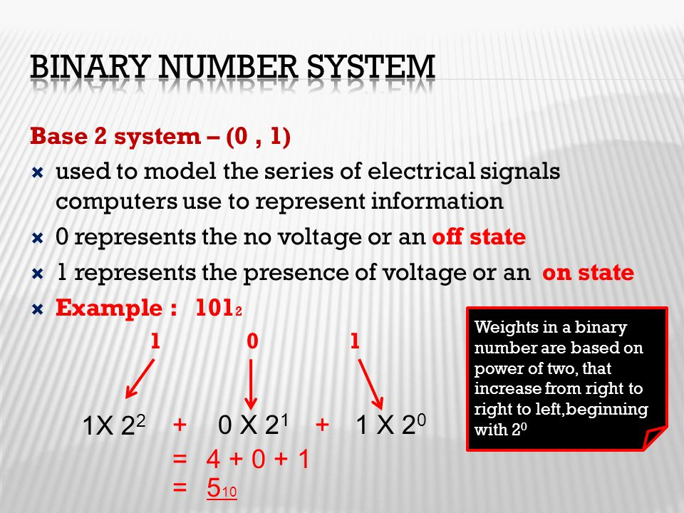 Base 2 system – (0, 1)  used to model the series of electrical signals computers use to represent information  0 represents the no voltage or an off