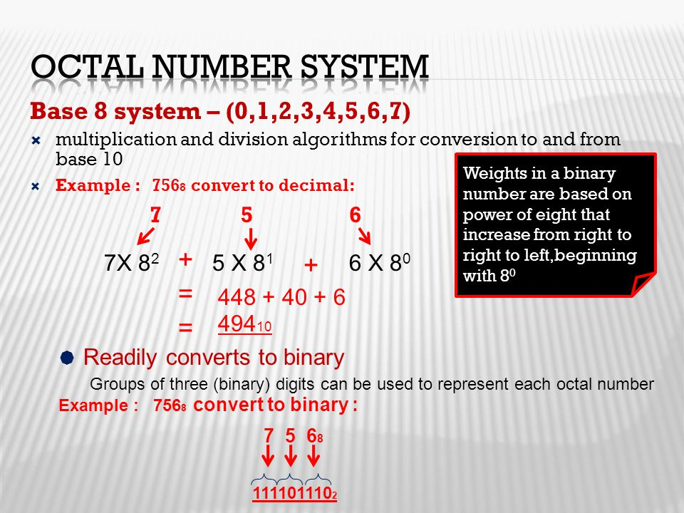 Base 8 system – (0,1,2,3,4,5,6,7)  multiplication and division algorithms for conversion to and from base 10  Example : 756 8 convert to decimal: 7