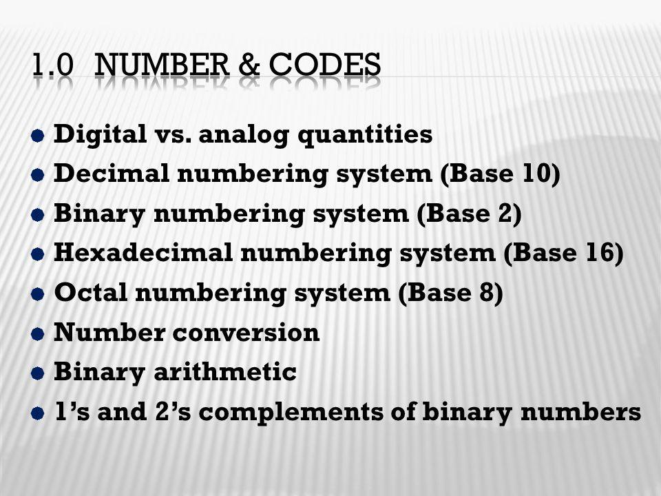  Digital vs. analog quantities  Decimal numbering system (Base 10)  Binary numbering system (Base 2)  Hexadecimal numbering system (Base 16)  Oct