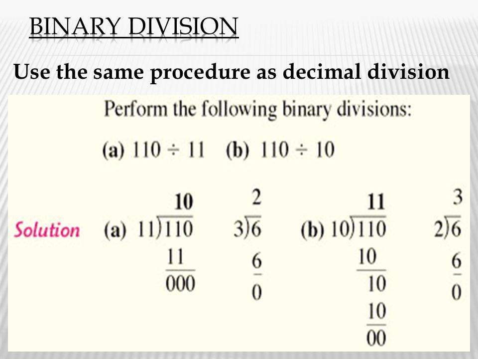 Use the same procedure as decimal division